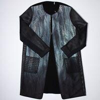 Elie Tahari Reversible Mesh Sleeve Mix Print Open Front Lightweight Jacket Coat