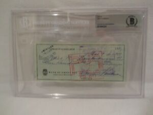 Vince Lombardi 1962 Signed Personal Check Beckett Slabbed
