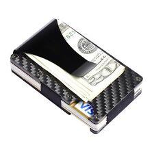 Carbon Fiber Wallet Credit Card Holder RFID Blocking Polished Black Money Clip
