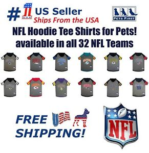 NFL Hoodie Tee Shirt for Dogs & Cats - COOL T-Shirt, 32 Teams, 4 sizes available