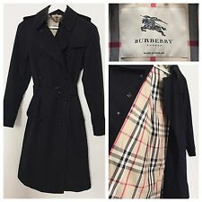 Burberry Trench Coat Navy Blue Classic Mac Raincoat Long Jacket | Size UK 6 XS