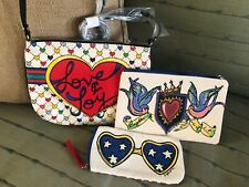 Brighton LOVE & JOY Christmas Holiday Canvas Handbag Tote Bag And Pouch