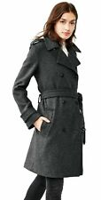 Gap Women's Wool Blend Winter Trenchcoat Coat, Charcoal Heather Sz L P (C143)