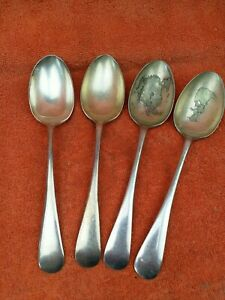 4 x Antique Silver Plate Large Serving Spoons, Walker & Hall C1920