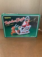 Vintage S.J.F Happy Reindeer Sleigh, Vintage Christmas Toy In Box