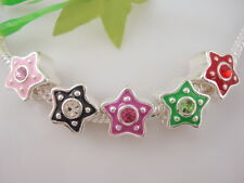 20pcs Fashion Mix Pentacle Charms Beads Inlay Crystal Fit European Bracelet MH06