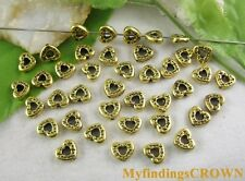 40pcs Antiqued gold heart spacer bead FC5020