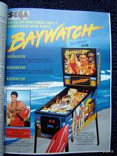 Baywatch pinball *1995 REPLAY MAGAZINE*~Stargate/Dirty Harry/X-Men/jukebox/Bally