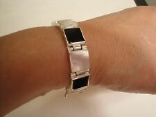 """925 STERLING SILVER SQUARE BLACK ONYX /MOTHER OF PEARL 7.5"""" LINKED BRACELET"""