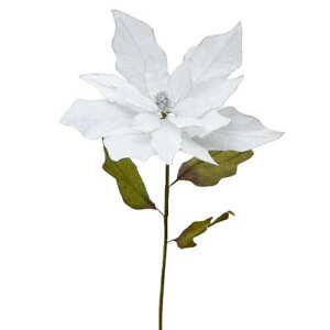 Large Silver Trimmed White Velvet Leaf Poinsettia Stem | for Indoor Decor