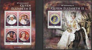 """SIERRA LEONE - 2016 MNH """"Queen ELIZABETH II"""" Two Souvenir Sheets !!"""