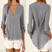 Ladies Women V-Neck Long Sleeve Chiffon T Shirt Summer Loose Tops Blouse AU 8-20