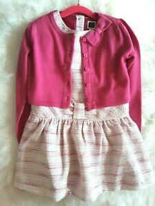 NWT! Janie and Jack Posh Posy Pink Bow Boucle Dress and Cardigan Size 5