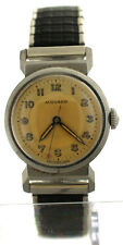 Vintage 1940's Movado Center Second Bull Horn Lugs Sector Dial Watch Ref 11730