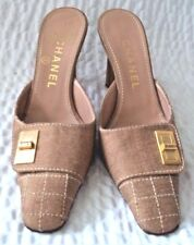 Chanel Light Brown Slip On Canvas Mules Size 6 B