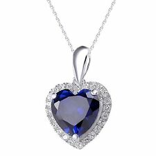 Heart Blue Sapphire Topaz 925 Sterling Silver Pendant Chain Necklace Jewelry P25