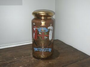 VINTAGE GLASS APOTHECARY SULPHUR JAR WITH LID