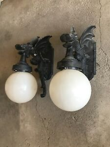 Giant Pair of Dragon Gothic Gargoyle Exterior  Light Fixtures w/Globes Cast Al.