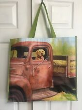 NEW TJ Maxx Large Shopping Tote Bag Farm Dog In A Truck Reusable Eco Friendly