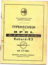 Typenschein  Opel    Rekord   R-3   1,7   Bj  1965