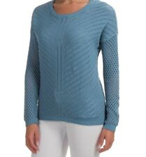 NEW prAna WOMENS L PARKER SWEATER ORGANIC COTTON BLUE LONG SL OPEN KNIT