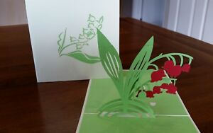 3D Handmade Pop up Snow Drop Flowers.(Mother'day,Birthday, Thank you, Get Well..