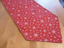 christmas table runner red with white  snowflakes  fully lined156cm x 29cm