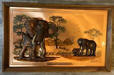 "Gastone 3D Copper Bull Elephant Mother & Calf Vintage Wall Hanging 37"" x 23"""
