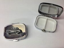 Austin A30 4 Door Saloon ref6  pewter effect car emblem on silver metal pill box