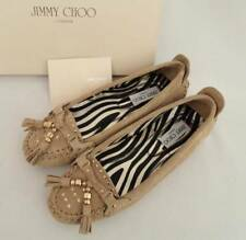 JIMMY CHOO Beige Suede Leather Flats Loafers UK6 39 New