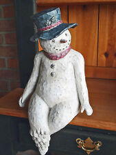 Christmas Decorations - Folk Art Snowman Holiday Figurine