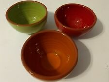 "Val Do Sol Stoneware Portugal Set of 3 Small Bowls 2"" tall & 3 1/2"" diameter"