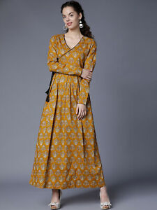 Mustard Yellow Casual Maxi Dress Cotton Long Sleeves Gown Plus Size Dress