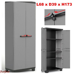 Garden Cabinet Cupboard Storage Broom Shelves Outdoor High Shed Plastic Utility