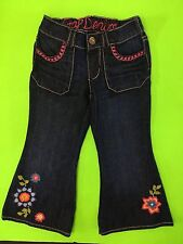 NWOT BABY GAP EMBROIDERED  JEANS 3T 3 YEARS FLOWERS TODDLER GIRLS BLUE DENIM