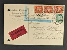 1924 Esslingen Germany Express Postcard Cover