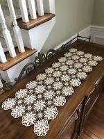 Vintage Crocheted Ecru Table Runner Handmade Dresser Scarf 34 x 13