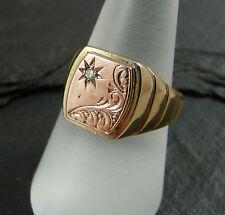 9ct Rose & Yellow Gold & Diamond Signet Ring - UK Hallmarked Ring Size Q - 6.6g