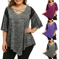 Plus Size Women Lace Flare Sleeve Loose Tunic T-Shirt Casual Summer Tops Blouse