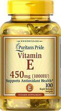 Vitaminas Vitamina E-1000 IU-100 en cápsulas de gel de Puritan's Pride