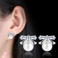 925 Sterling Silver Stud Earrings CZ Pearl Bow Shape For Women Fashion Jewelry