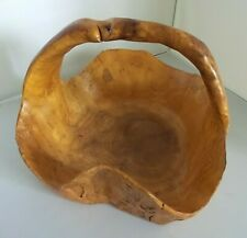 VINTAGE BURL WOOD HAND CRAFTED  BASKET WITH WICKER BALLS SIGNED BY ARTISAN