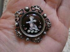 Antique French Enamel Silver Cherub Pin/ Brooch