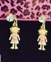 New Pink Enamel Dress Little Girl Crystal Betsey Johnson Women Stand Earring