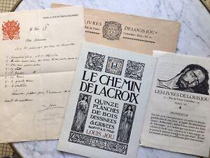 Louis JOU Lettre Autographe + 2 Prospectus + Enveloppe «Le Chemin de la Croix»