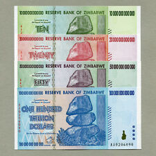 Zimbabwe 100 50 20 10 Trillion Dollars 2008 full set UNC currency bills