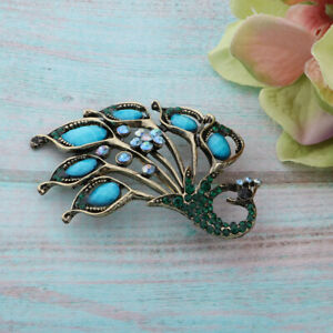 Vintage Crystal Peacock Brooch Pin Collar Wedding Party Jewelry Gifts
