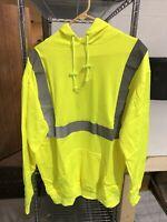 Occunomix Mens Hi Viz Pullover Lightweight Sweatshirt Hooded Reflective Size XL