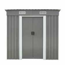 New listing 6' x 4' Outdoor Steel Metal Garden Storage Shed Tool House W/Sliding Door Grey