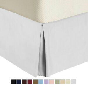 Solid Bed Skirts Brushed Microfiber Pleated Tailored Bedskirt with Split Corners